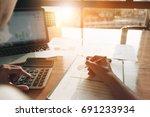 close up businessman using...   Shutterstock . vector #691233934