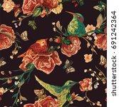 vintage seamless pattern  bird  ... | Shutterstock .eps vector #691242364