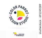 parrot logotype set gradient... | Shutterstock . vector #691245289