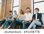 multiethnic diverse group of... | Shutterstock . vector #691248778