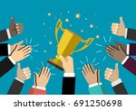 businessman holding up a... | Shutterstock .eps vector #691250698