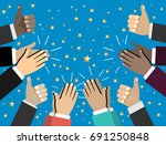 human hands clapping. applaud... | Shutterstock .eps vector #691250848
