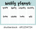 cute a4 template for weekly and ... | Shutterstock .eps vector #691254724