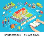 back to school 3d isometric... | Shutterstock .eps vector #691255828