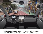 autonomous driverless car with... | Shutterstock . vector #691259299