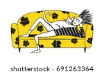 young man resting with his... | Shutterstock .eps vector #691263364