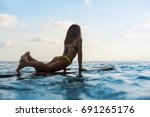 happy girl in bikini have fun... | Shutterstock . vector #691265176