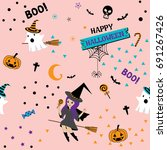 happy halloween seamless...   Shutterstock .eps vector #691267426