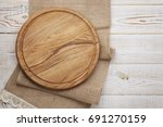 pizza board and canvas napkin... | Shutterstock . vector #691270159