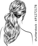 hand drawn beauty woman with...   Shutterstock .eps vector #691272178