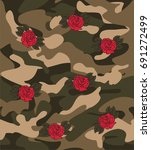 seamless camouflage with red... | Shutterstock .eps vector #691272499