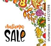 vector autumn harvest festival... | Shutterstock .eps vector #691272598