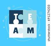team work banner. white blue... | Shutterstock .eps vector #691274203