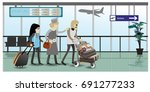 family travel. at the airport.... | Shutterstock .eps vector #691277233
