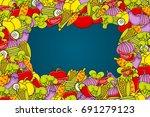 vegetables cartoon doodle... | Shutterstock .eps vector #691279123