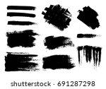 set of black paint  ink brush... | Shutterstock .eps vector #691287298