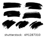 set of black paint  ink brush... | Shutterstock .eps vector #691287310