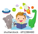little boy reading book | Shutterstock .eps vector #691288480