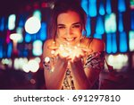 beautiful young woman smiling... | Shutterstock . vector #691297810