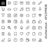 basic ui line icons set ...