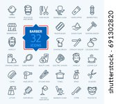 barbershop   outline web icon... | Shutterstock .eps vector #691302820