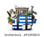 greece  vintage suitcase with... | Shutterstock . vector #691303813