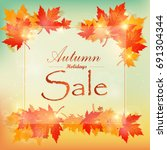 collection of autumn sale and... | Shutterstock .eps vector #691304344