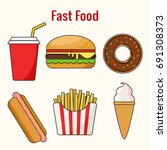 fast food. hamburger  hot dog ... | Shutterstock .eps vector #691308373