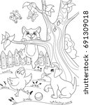 childrens coloring cartoon... | Shutterstock .eps vector #691309018