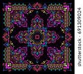 vector ornament paisley bandana ... | Shutterstock .eps vector #691309024
