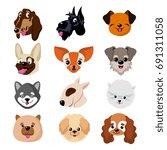 funny cartoon dog faces. cute... | Shutterstock .eps vector #691311058