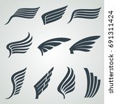 eagle and angel wings icons.... | Shutterstock .eps vector #691311424