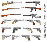 various rifle  guns and pistols ... | Shutterstock .eps vector #691311439