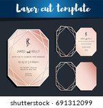 vector laser cut template for... | Shutterstock .eps vector #691312099