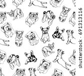 seamless pattern of hand drawn... | Shutterstock .eps vector #691313116
