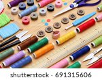 row of sewing tools  tailoring... | Shutterstock . vector #691315606
