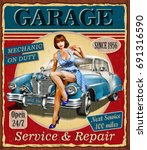 vintage garage retro poster | Shutterstock .eps vector #691316590