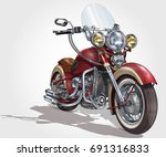 classic vintage motorcycle. | Shutterstock .eps vector #691316833