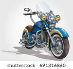 classic vintage motorcycle. | Shutterstock .eps vector #691316860