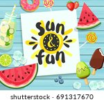 sun and fun card on blue wooden ... | Shutterstock . vector #691317670