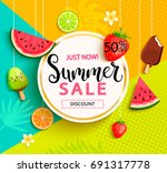 summer geometric sale with... | Shutterstock . vector #691317778