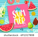 summer lettering on blue wooden ... | Shutterstock . vector #691317808