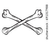 crossed bones   hand drawn... | Shutterstock .eps vector #691317988
