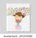cover report teenage wearing... | Shutterstock .eps vector #691319980