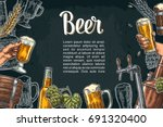 horizontal poster beer set with ... | Shutterstock .eps vector #691320400