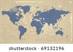 retro styled map of the world.... | Shutterstock . vector #69132196