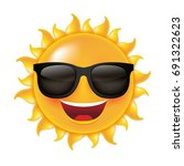 sun smile  with gradient mesh ... | Shutterstock .eps vector #691322623