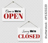 open and closed signs set... | Shutterstock .eps vector #691323220