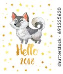hello 2018 new year. card with... | Shutterstock . vector #691325620