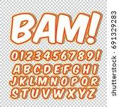 comic alphabet set. letters ... | Shutterstock .eps vector #691329283